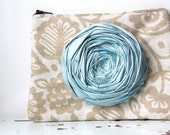 SALE Rosette Clutch Purse Floriane Chic ... Light Ocean Blue Silk Rosette Tan