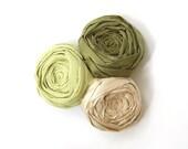 Rosette Hair Clip Forest Greens Silk Trio Linen and Silk Blend Clip