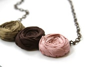 Rosette Necklace Romance Necklace Rosette and Brass Chain Silk and Cotton