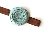 Rosette Stretch Headband Mute Cotton Rose Flower Hairband 2 inch