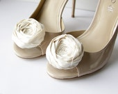 SALE .. only one pair left Rosette Shoe Clips Extra Posh Ivory Silk Rosette Shoe Clips Bride Wedding Bridesmaids Couture Ivory 2.25 inches