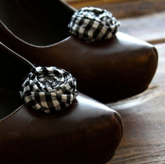 Black and White Gingham Fabric Rosette Shoe Clips
