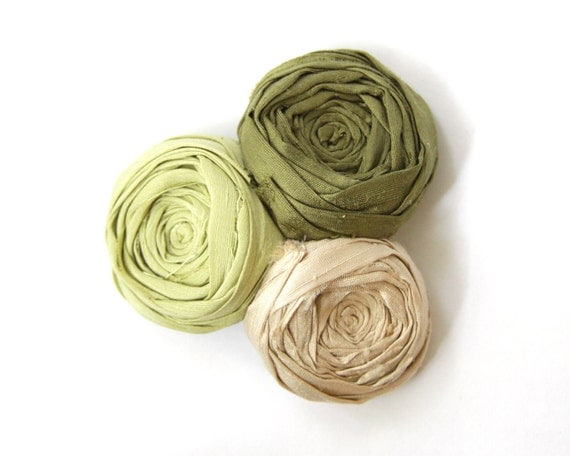 Rosette Hair Clip Forest Greens Silk Trio Linen and Silk Blend Clip