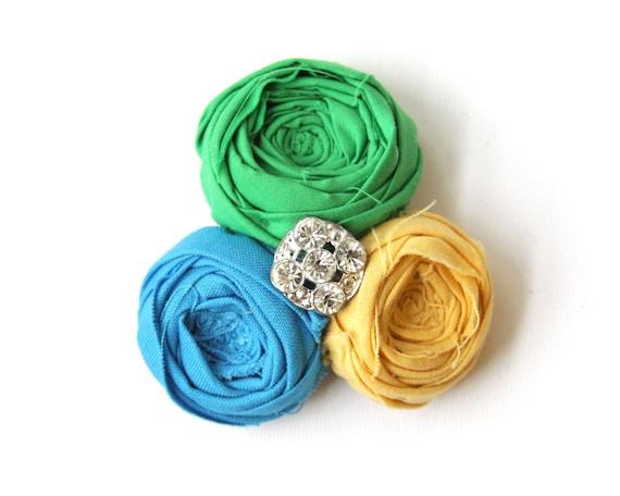 SALE Rosette Trio Hair Clip True Vintage Rhinestone Embellishment Turquoise Blue Mustard Yellow and Garden Green Cotton Flower Hair Piece