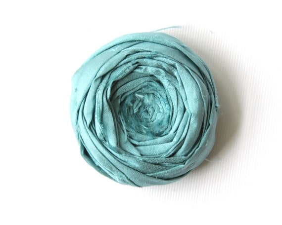 Rosette Brooch Pin Caribbean Blue Silk Boutonniere Rose Flower Silk Blue 1.75 inch
