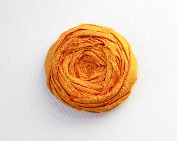 Rosette Brooch Pin Tangerine Orange Silk flower Ranunculus Flower Pin 2.25 inches