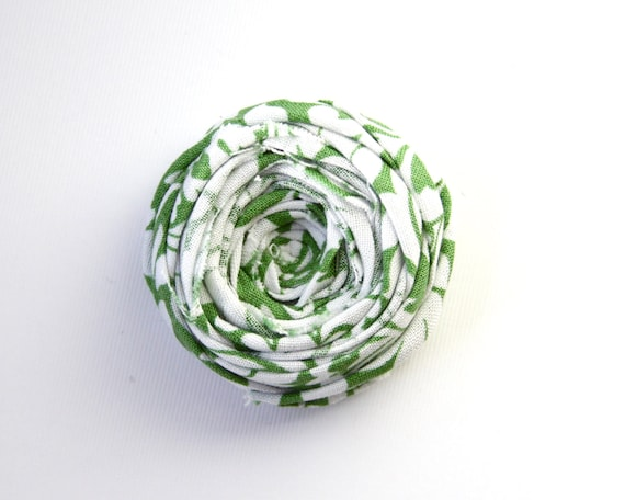 Rosette Brooch Pin Green and White Damask Rosette Rose Cotton Fabric Flower Broche Broach 2 inches