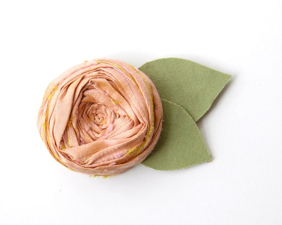 Rosette Brooch Pin Antique Pink Silk Rosette with hand cut Cotton Cottage Green Leaves Flower 2 inch