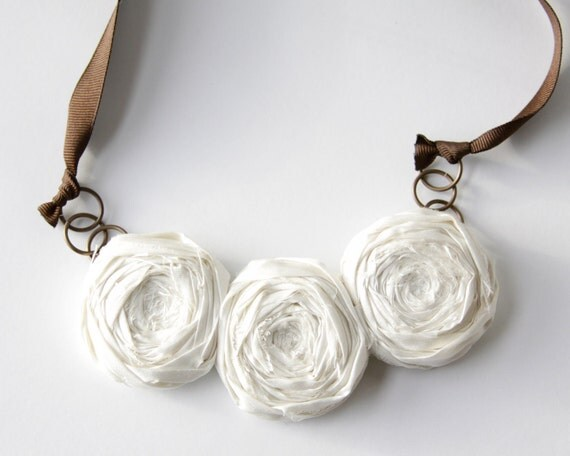 SALE Rosette Necklace made with Dupioni Silk and pretty chocolate ribbon Ivory Rosette Necklace