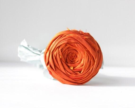 SALE Elegant Rosette Bracelet Copper Orange Silk Flower Rosette Blue Ribbon Something Blue Rustic Ribbon Bracelet 2.25 inch