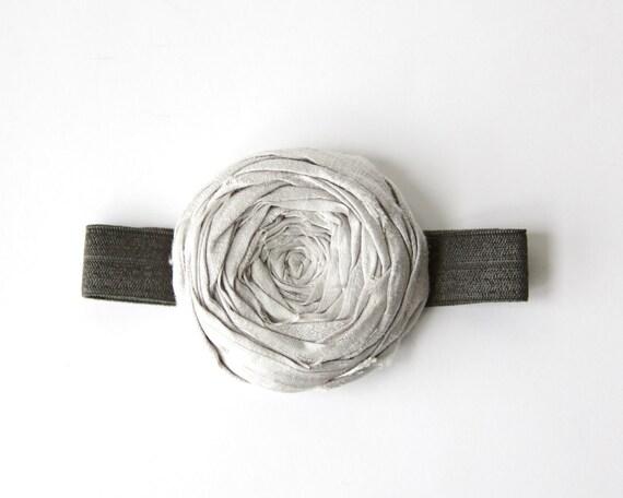 Rosette Stretch Headband Silver Gray Silk Rose Flower Charcoal Gray and Silver Rosette Flower Headband 2.25 inch