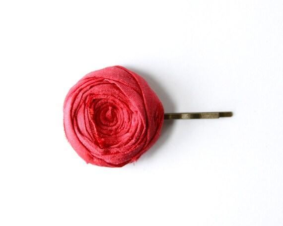 Rosette Bobby Pin Red Grapefruit Silk Flower Rosette Hair Bobby Pin 1.25 inch