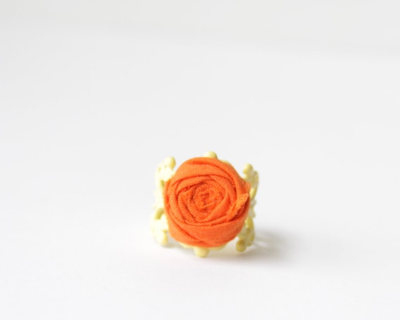 SALE Rosette Ring Orange Flower Citrus Summer Fun Yellow Filigree Ring Adjustable Orange Rosette Ring