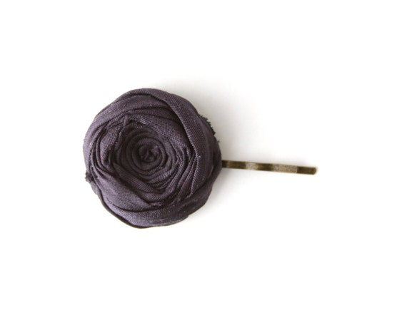 Rosette Bobby Pin Navy Blue Silk Fabric Flower Rosette Hair Bobby Pin Rustic Romance Hair Pin Romantic 1.25 inch