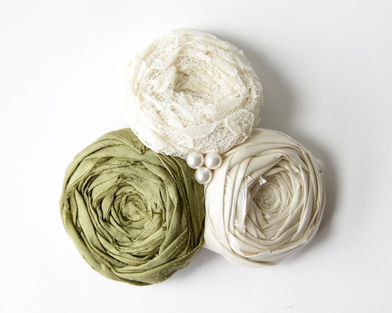 Rosete Couture Woodland Bride Hair Clip Green and Ivory Silk and Vintage Cream Lace with Pearls Woodland Chic Couture Bridal Hair Clip