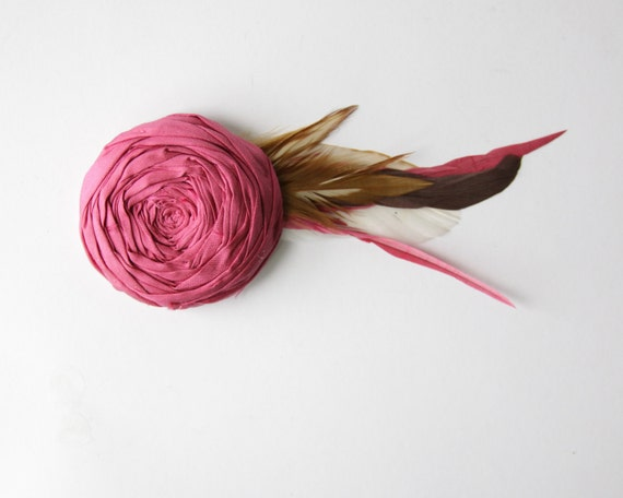 Rosette Couture Hair Clip Raspberry Cabaret Pink Silk Fabric Flower Rosette Hair Clip with Feathers Bridal or Beyond