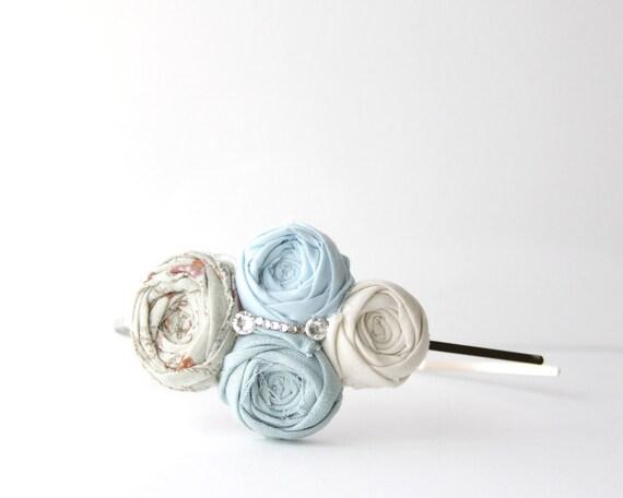 Rosette Couture Headband Boho Chic Swarovski Crystals Boho Floral, Cream, Teal Blue, Light Blue Cotton Flower Rosette Headband