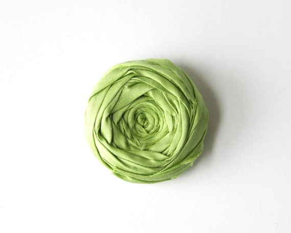 Rosette Brooch Boutonniere Pin Jasmine Green Silk Fabric Flower Rosette Broach Pin Rustic Romance Hair Pin Romantic 1.5 inch