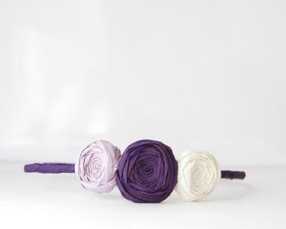 Rosette Silk Flower Headband Deep Plum Purple Ivory and Lilac Silk Wedding Flower Girl Birthday Party Romantic Day Headband Couture Romance