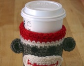 Sock Monkey Coffee Cozy EcoFriendly Reusable Handcrocheted Cup Accessory FREE SHIPPING