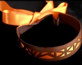 ON SALE Geometric Headband, patterned copper brown leather and orange satin