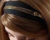 Zipper headband , 2 ways headband black with gold color zipper