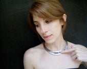 Kinetic Balls necklace, unique movements design in leather and pearl beads, silver and shades of lila