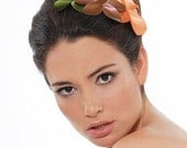 Floral Fascinator, romantic headband with a  vintage flair flowers headband, made of copper brown leather, green and peach orange satin