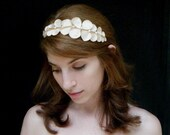 Troy - bridal hair accessory, Grecian wedding tiara, Ivory leaves headband made of satin leaves and pearl beads