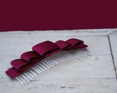Valentine's SALE Bow Hair Comb in Oxblood red, hair accessory in Dark cinnamon Large size , layered dark, deep red satin ribbon hair comb