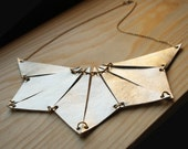Geometric Statement Necklace,  Leather Triangle Statement Necklace,  made of Ivory gold leather
