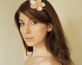 Single flower headband for women, pink flower and gold leave hair accessory, satin flower headpiece for women