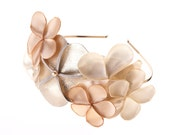 Phoebe - Floral Bridal Headband, in delicate ivory gold and champagne
