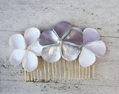 SALE Bridal Hair comb - Floral trio in Ivory and white satin, and an Ivory gold leather flower with an ivory pearl bead