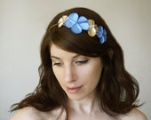 Blue Hair accessory, Flower headpiece, Rich blue satin flowers with gold leather flower and an ivory pearl bead