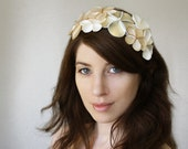 Bridal Hair Accessory, Bridal flower headband, Ivory floral crown, wedding hair accessories, Ivory satin flowers pearls