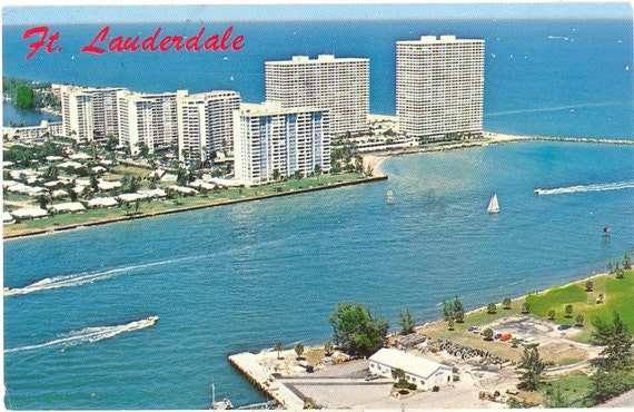 Vintage Florida Postcard - Fort Lauderdale -  Beach Harbor Entrance Port Everglades