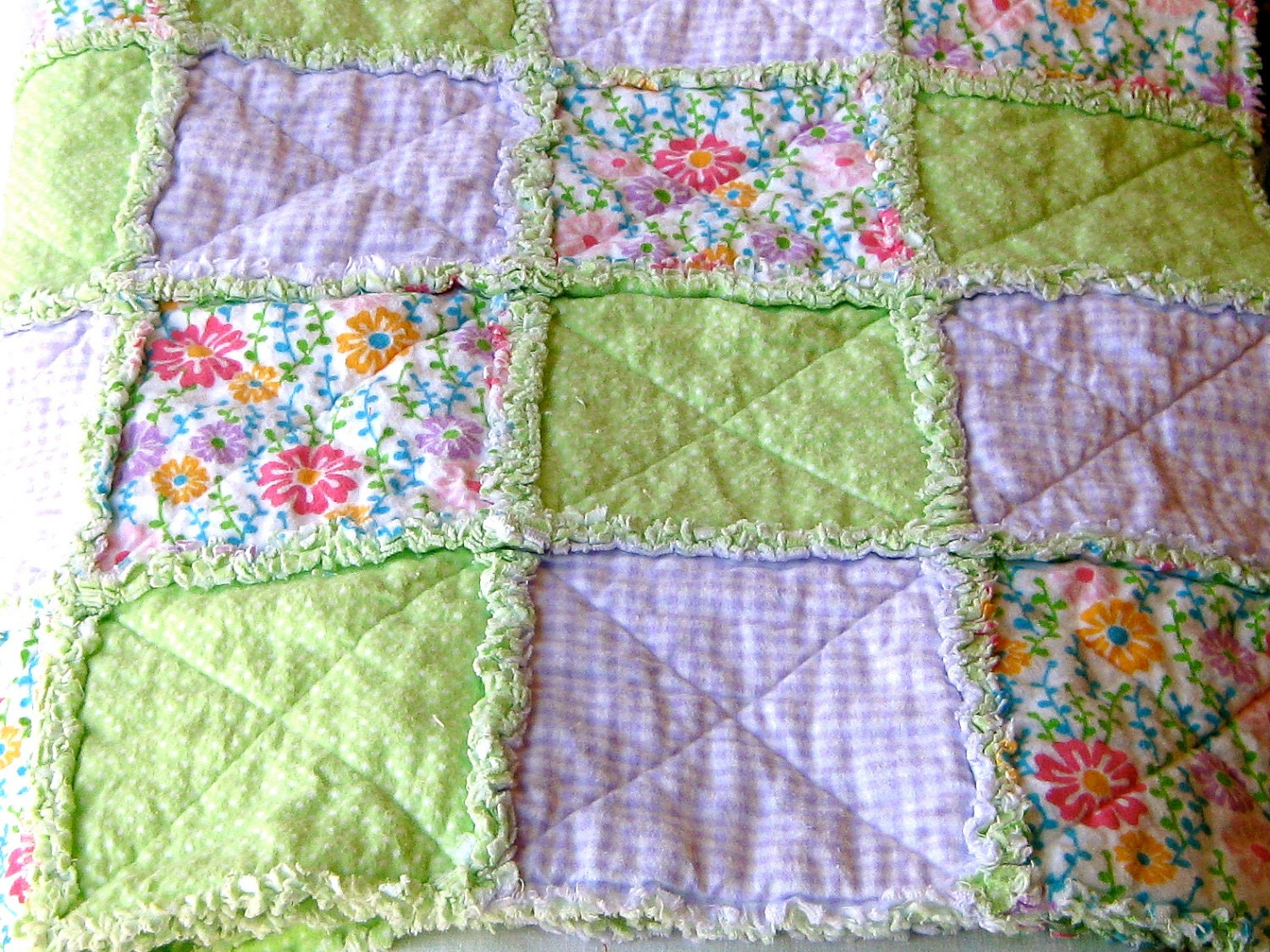 Organic Cotton Quilt Fabric Young Girl Rag Quilt With