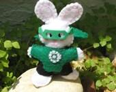 GREEN LANTERN BUNNY -mini stuffed super hero    (p21)