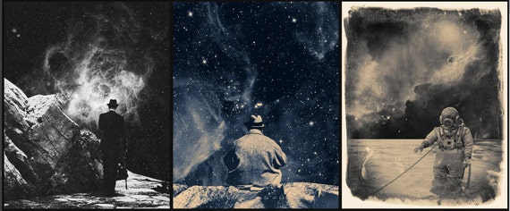 Set of three Space Prints. Surreal Montage Prints. Galaxy Print.