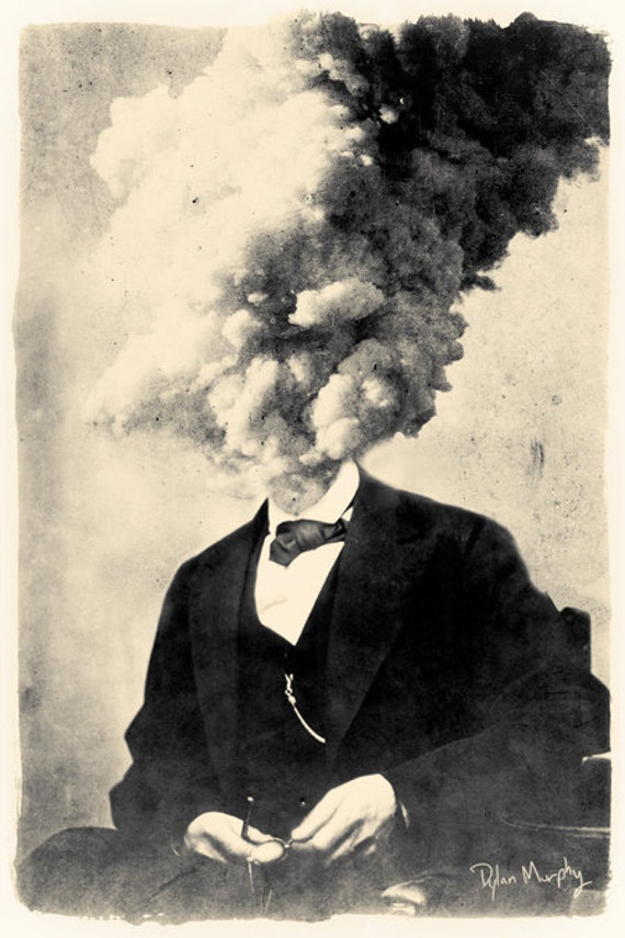 Exploding Head 8x12 fine art surreal collage montage print. Surreal Print.