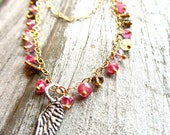 In the Summertime Multi Sapphire 14kt Gold Filled Necklace with Sterling Angel Wing Charm
