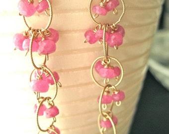 Nice Dream Pink Ruby Gemstone Earrings