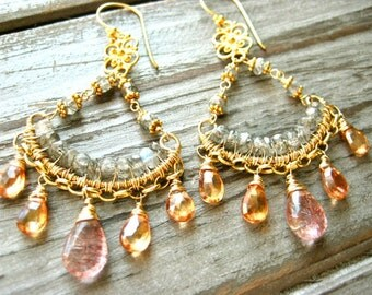 Penny Lane Wire Wrapped Gemstone Chandelier Earrings