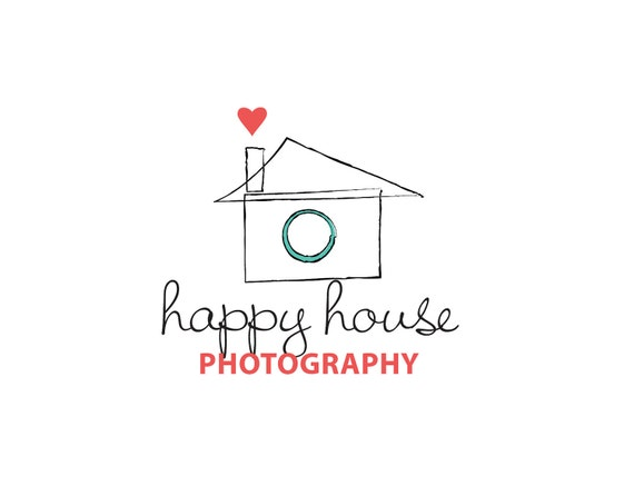 Photography Logo Custom OOAK Premade Design - Photography Logo Camera Heart House Teal Red By ReaniDesigns on Etsy