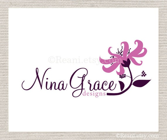 Logo Design OOAK - Premdae Etsy Logo Never Resold Purple Flower By ReaniDesigns on Etsy