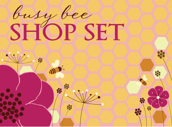 Etsy Premade Shop Set, Etsy Banner, Avatar, Reserved Listing - Busy Bee Purple Flowers Honey Wax