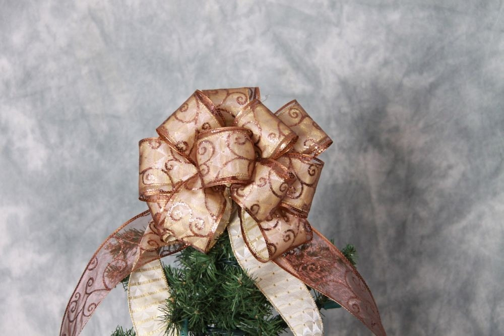 Gold And Brown Christmas Tree Topper Bow