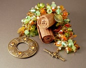 Czech Glass Statement Bracelet Chunky Wire Wrapped Cluster, Copper, Earth Tones, Brown Green Orange SALE