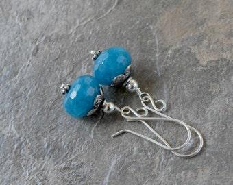 Blue Angelite Earrings Bali Sterling Silver Handmade Blue Gemstone Dangle Earrings